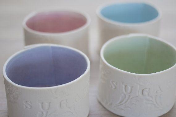 Printed Porcelain Sugar Bowl by PennySpoonerCeramics on Etsy, $24.50