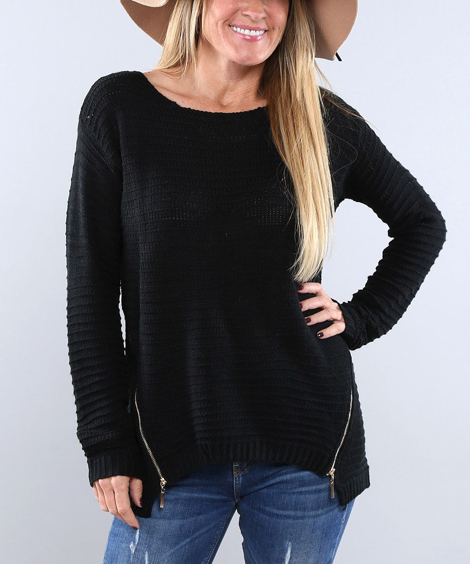 This Coco and Main Black Zipper-Detail Sweater - Women by Coco and ...
