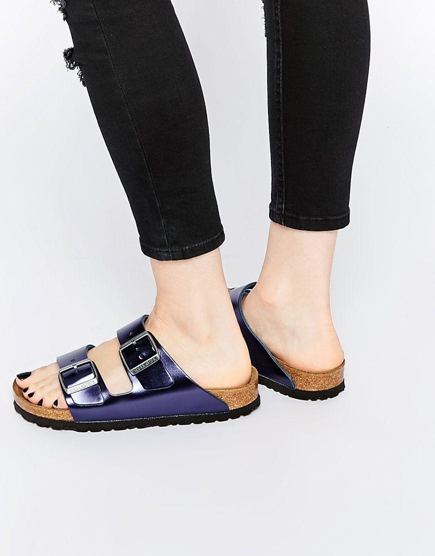 Image 1 of Birkenstock Arizona Metallic Dark Sapphire Slider Flat Sandals