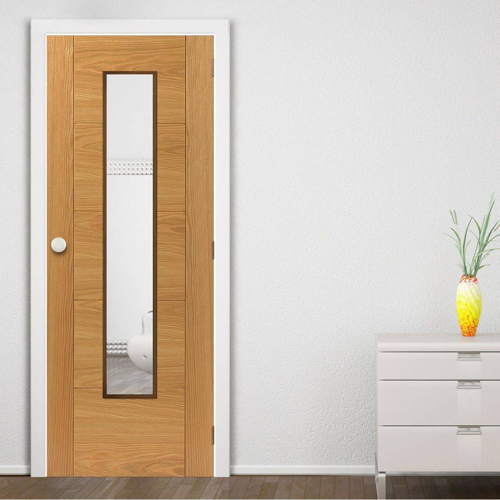 Fire rated glass office doors - Jbk Emral Oak Veneered Fire Door With Clear Glass Is 1 2 Hour Fire Rated And Pre Finished