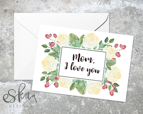 Mom birthday card love you mother card last minute card for mum – Mother Birthday Card Printable