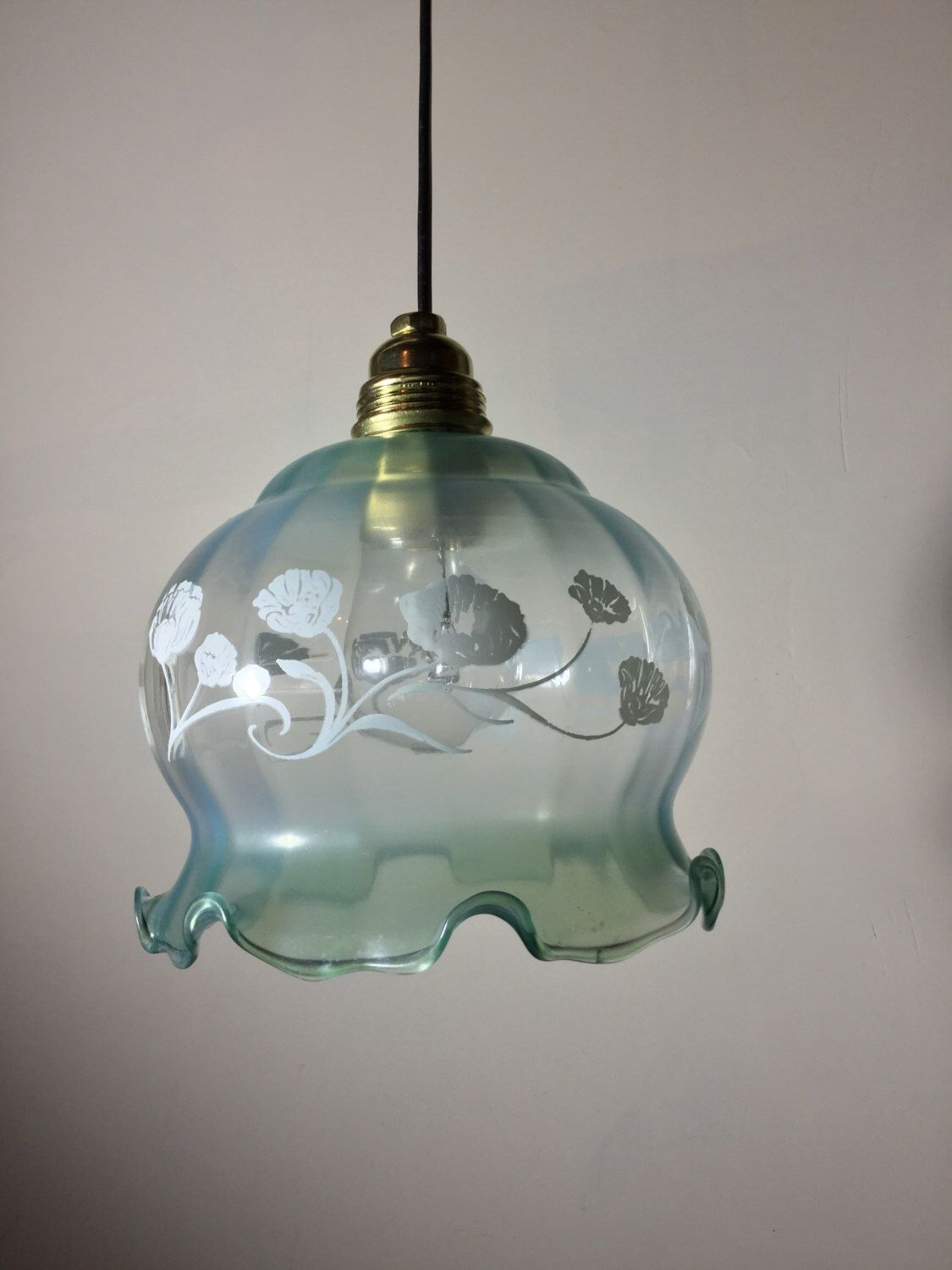 Pretty Vintage French Frilly Glass Lampshade - Matt Frosted Opaque Glass with Subtle Blue Green Shading & Floral White Design. by BeauChateauBoutique on Etsy https://www.etsy.com/listing/511550051/pretty-vintage-french-frilly-glass
