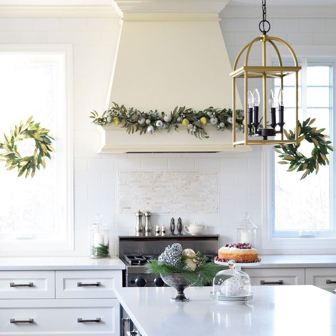 decorate your kitchen with style this holiday season wood kitchen cabinets kitchen cabinetry on kitchen cabinets xmas decor id=26777