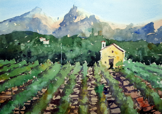 Painting by Tim Wilmot, a tutor at The Watermill at Posara painting holidays/vacations, Tuscany, Italy.