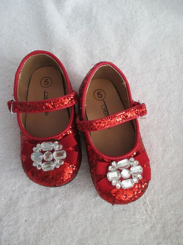 new red glitter shoes sz 5 toddler dorothy ruby slippers wizard of