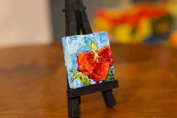 Mini 2x2 inch Mini Red Hibiscus and Mini Easel by OriginalsbyParis