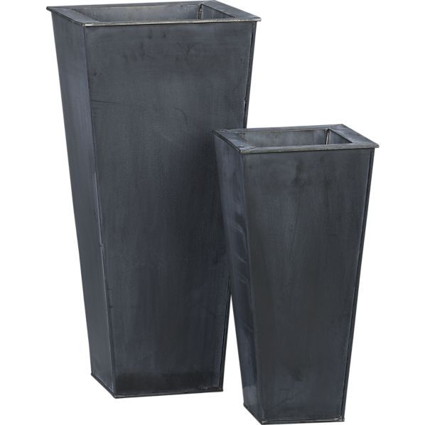 Zinc Tall Square Planters In Garden Patio Crate And Barrel