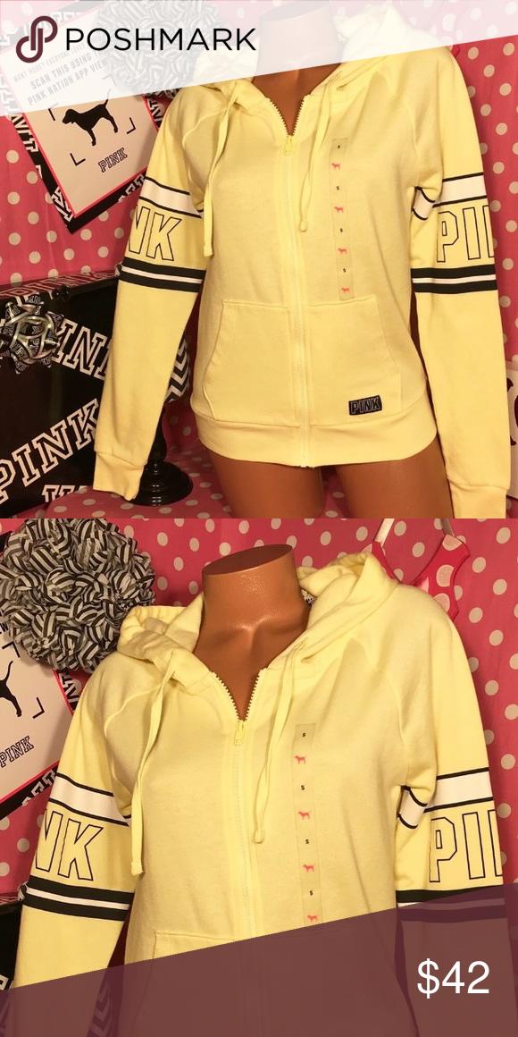 77b80e7787a86 Pink Victorias Secret Zip Hoodie🌴 VS Pink zip front sweatshirt ...