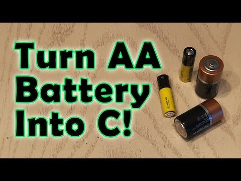 Convert Aa Batteries Into C Batteries With Some Thin Cardboard Strips Battery Hacks C Batteries Car Battery Hacks