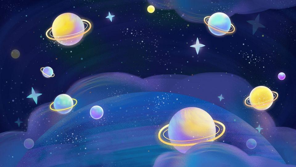 Blue Night Sky Cartoon Background พื้นหลัง, ท้อง