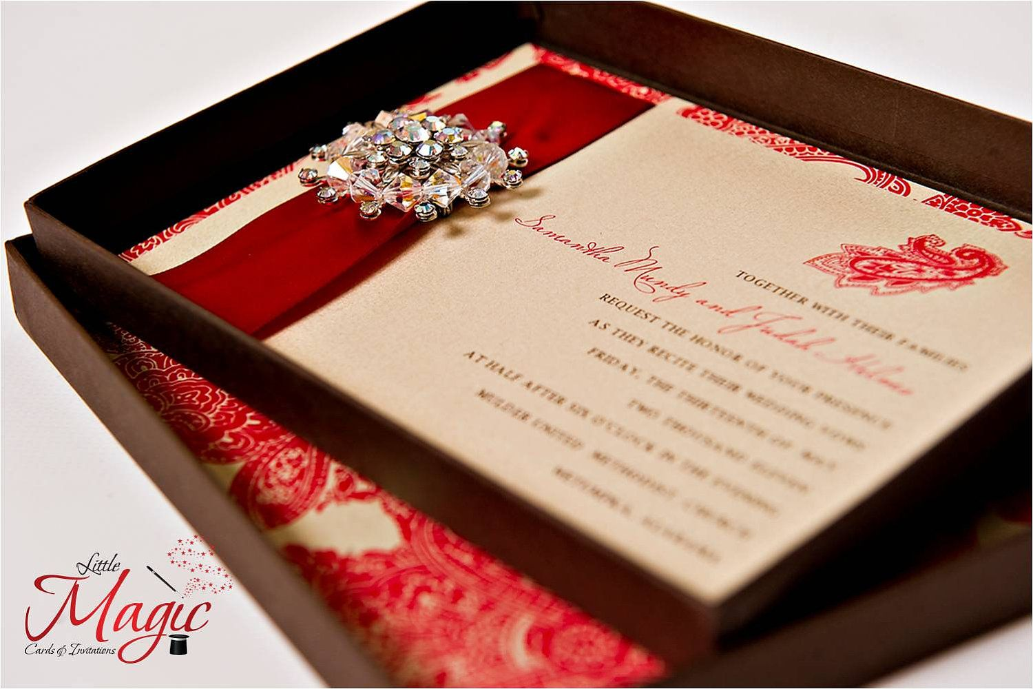 Red Carpet Worthy - Boxed Wedding INVITATION SAMPLE with Brooch ...