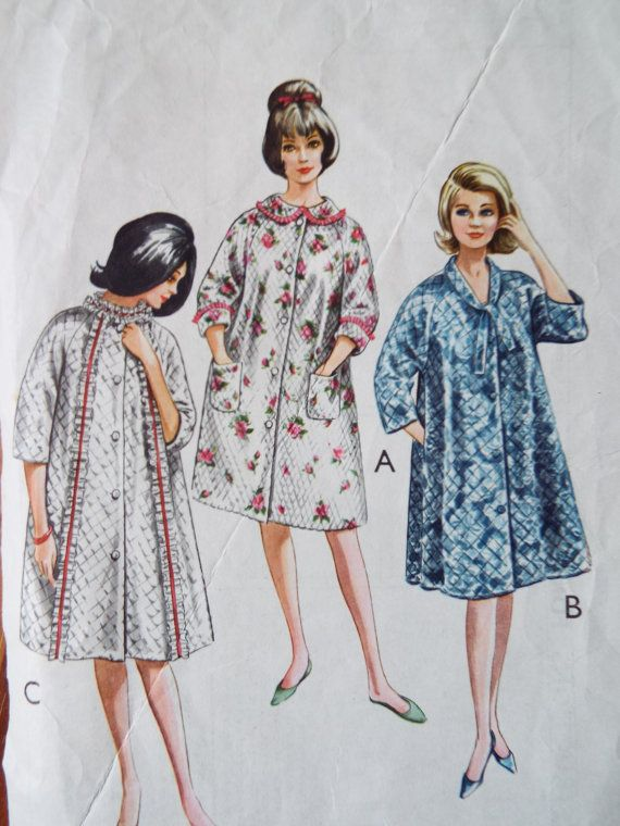 Vintage 1960s Style Easy To Make Housecoat Sewing Pattern B 36 38 ...