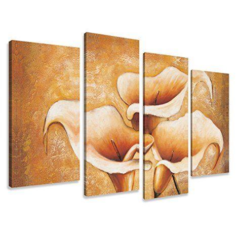 Visario Leinwandbilder 6139 Bild auf Leinwand Blumen, 130 x 80 cm, 4