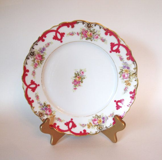Antique Elite L Limoges Dinner Plate Floral with Fuschia and Gold Border - France Circa 1896-1920 by HouseofLucien, $22.00