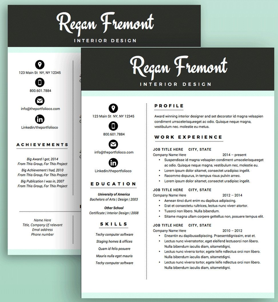 Creative Resume Template  Cv  Cover Letter  Modern Resume