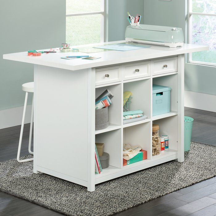 Westlake Craft Table Can Create A Similar Table With 2 Kallax And A Core Door And Plywood Top Wi Craft Room Tables Craft Tables With Storage Craft Room Design