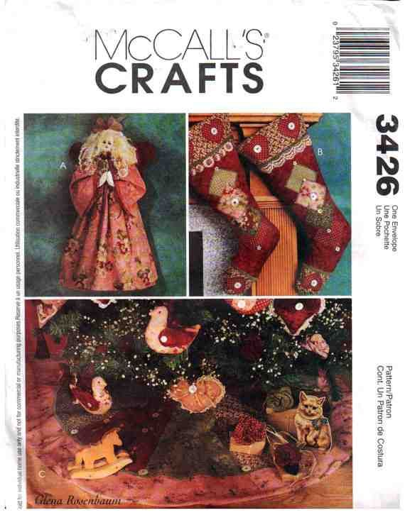 McCall's Sewing Pattern 3426 Christmas / Holiday ornaments Size: One UNCUT