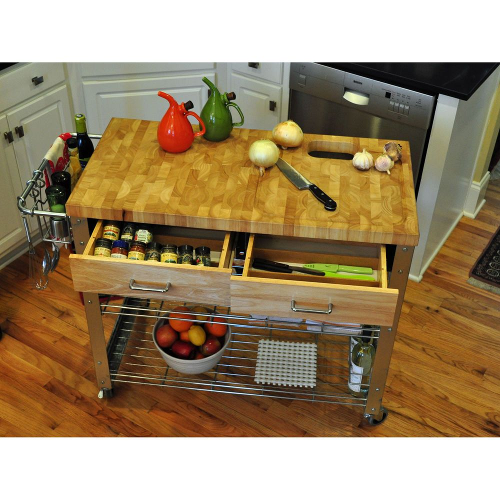 Butcher Block Mobile Kitchen Island Cabinet Rolling Utility Cart Top ...