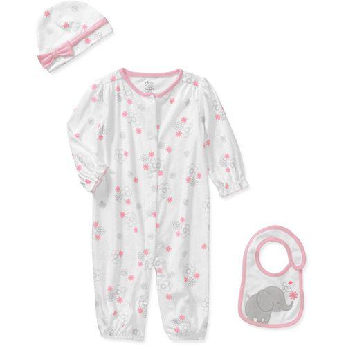 Child of Mine by Carters Newborn Girls' 3-Piece Elephant Romper, Hat and Bib Set $9.44