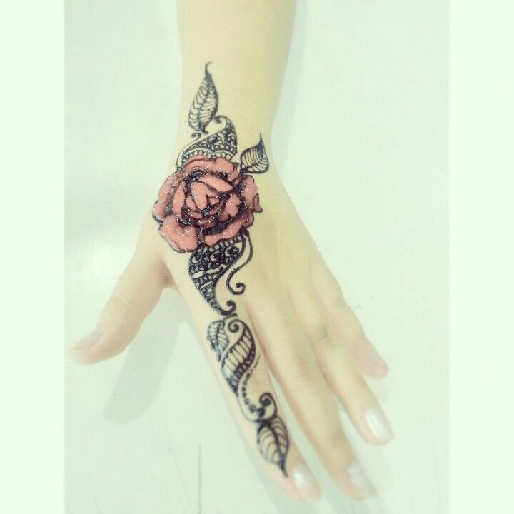 Pretty Rose Temporary Tattoo / Rose Temporary Tattoo ... |Realistic Rose Tattoos Henna Designs