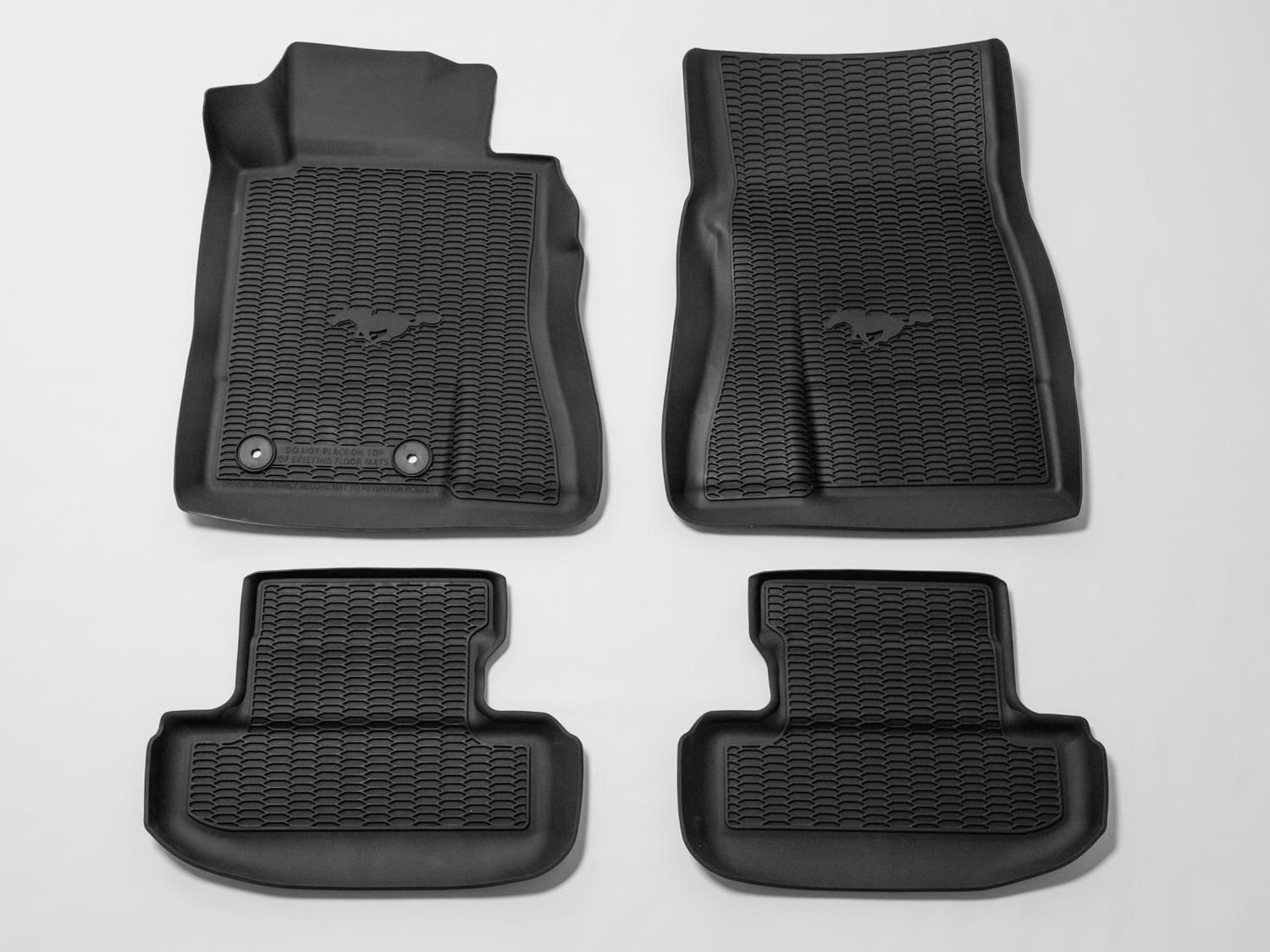Floor Liner All Weather Tray Style 4 Piece Black With Pony