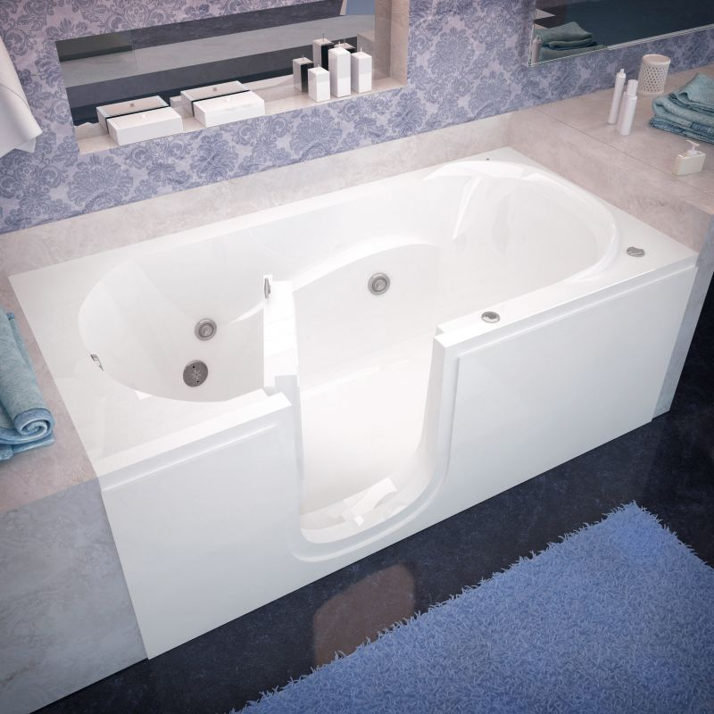 Avano Av3060silwh White Step In Tubs 59 5 8 Acrylic Whirlpool Bathtub For Alcove Installations With Left Drain Jetted Bath Tubs Step In Tub Small Bathroom