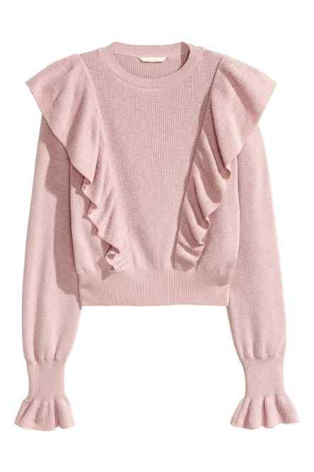 73b97d7be407 Knitted jumper with frills would go well with white trousers and pastel  pumps with ribbon laces or platform sandals.