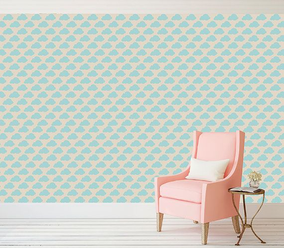 Blue Cloud Childrens Kids Peel And Stick Wallpaper Peel And Etsy Peel And Stick Wallpaper Simple Decor Vinyl Wallpaper