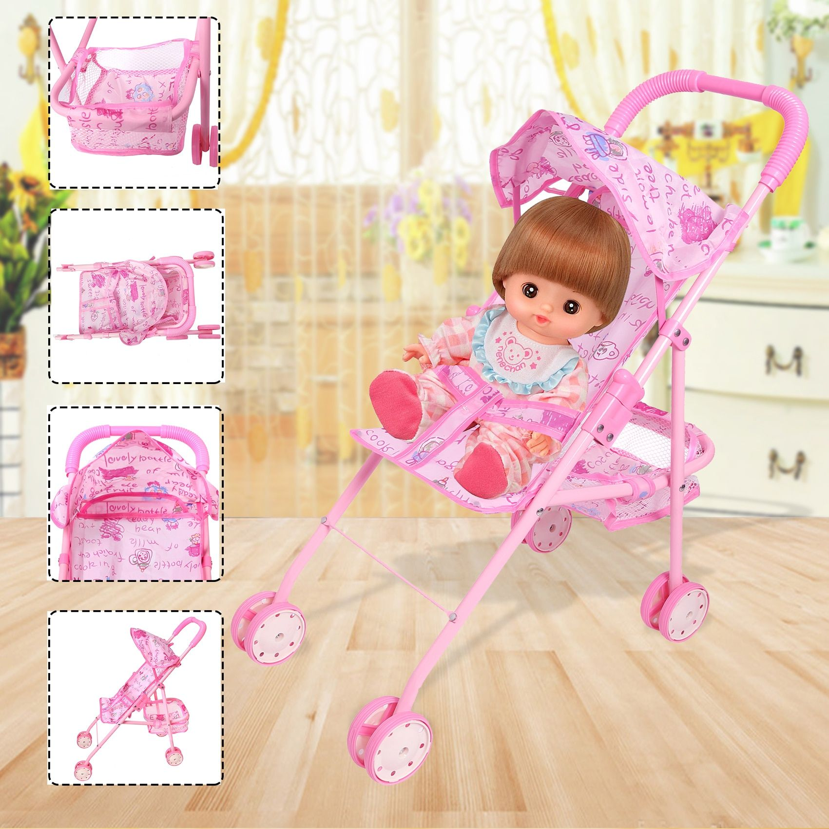 Lovely DIY Assembly Baby Buggy Stroller Pink Dollhouse Carriage Toy