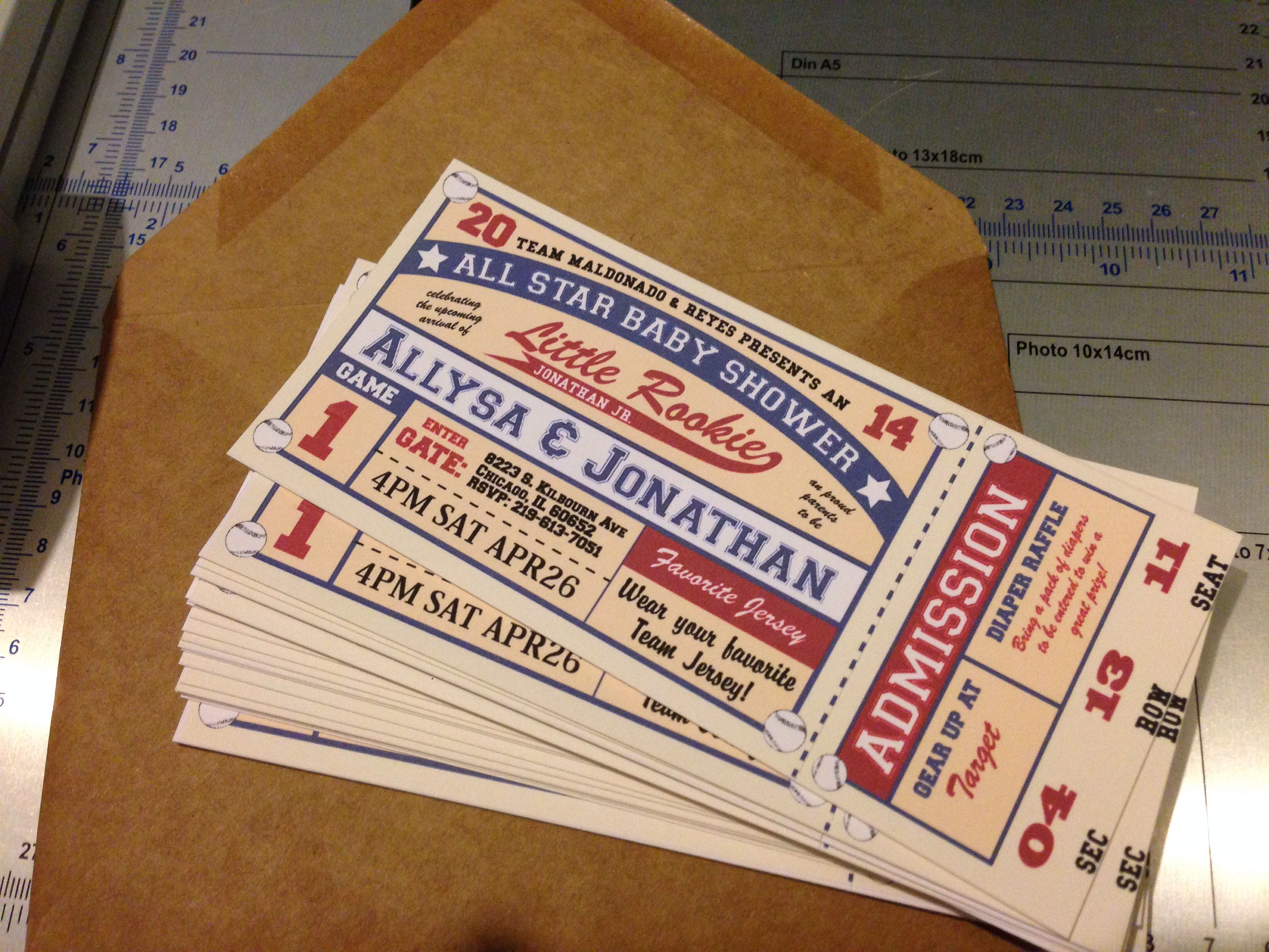 Vintage baseball ticket invitation for a baby shower Nicole-Reyes ...