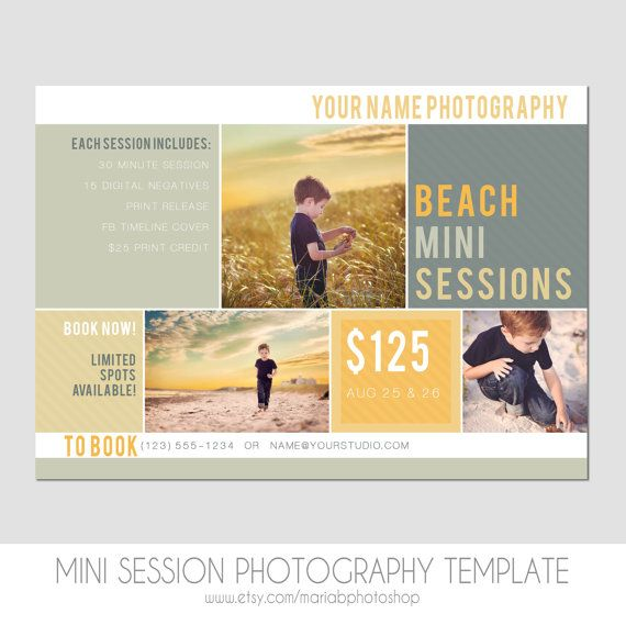 Mini Session Postcard  Photography Template  Flyer  Beach Minis