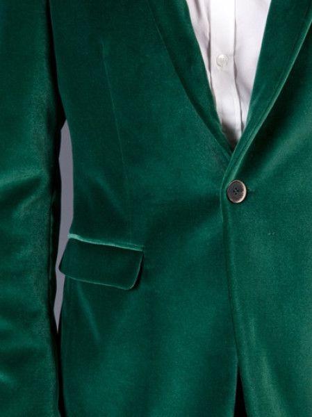 Dark Green Velvet Blazer
