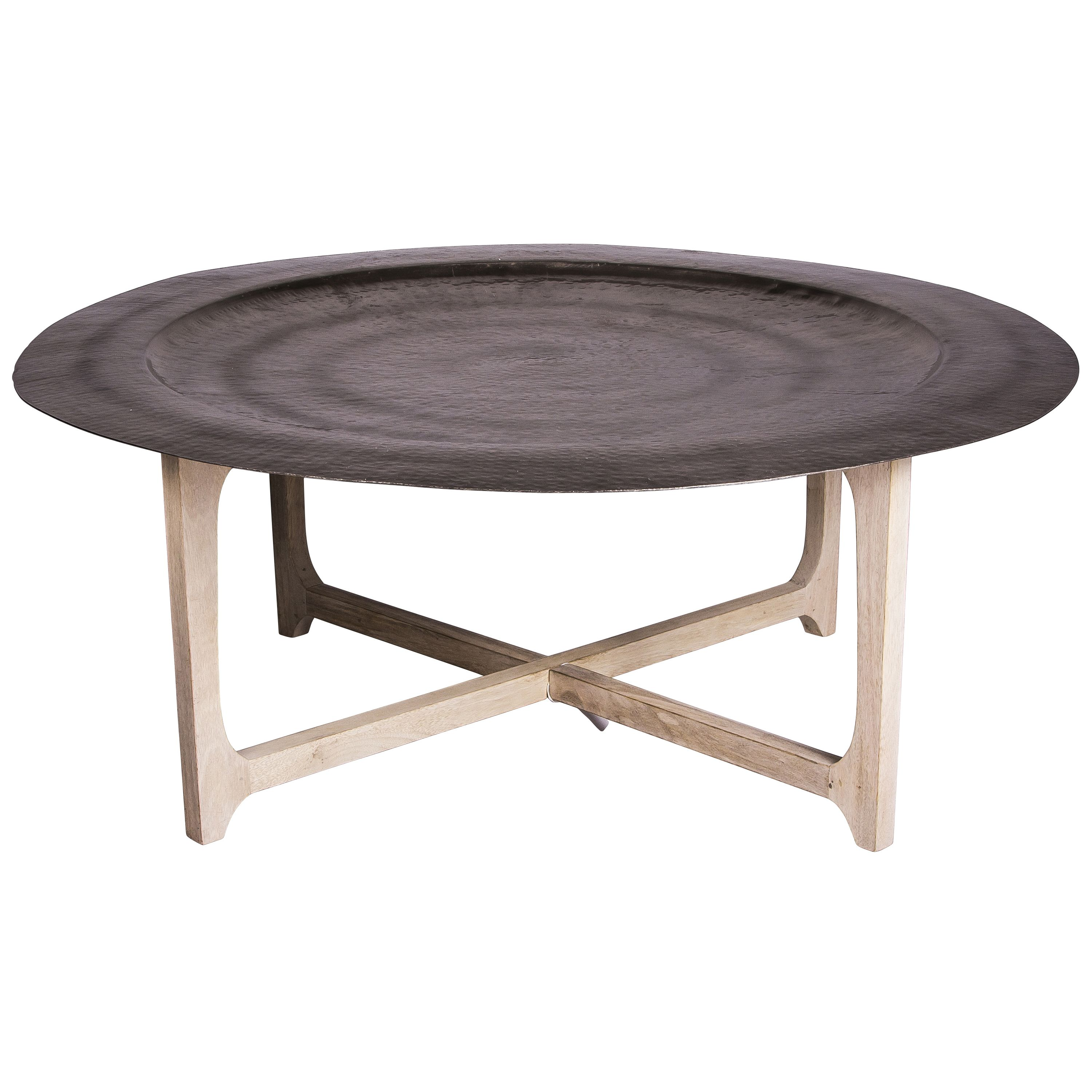 Tray Coffee Table With Light Mango Wood Legs And Hammered Metal Tray House Envy Co Uk Round Coffee Table Coffee Table Coffee Table Tray