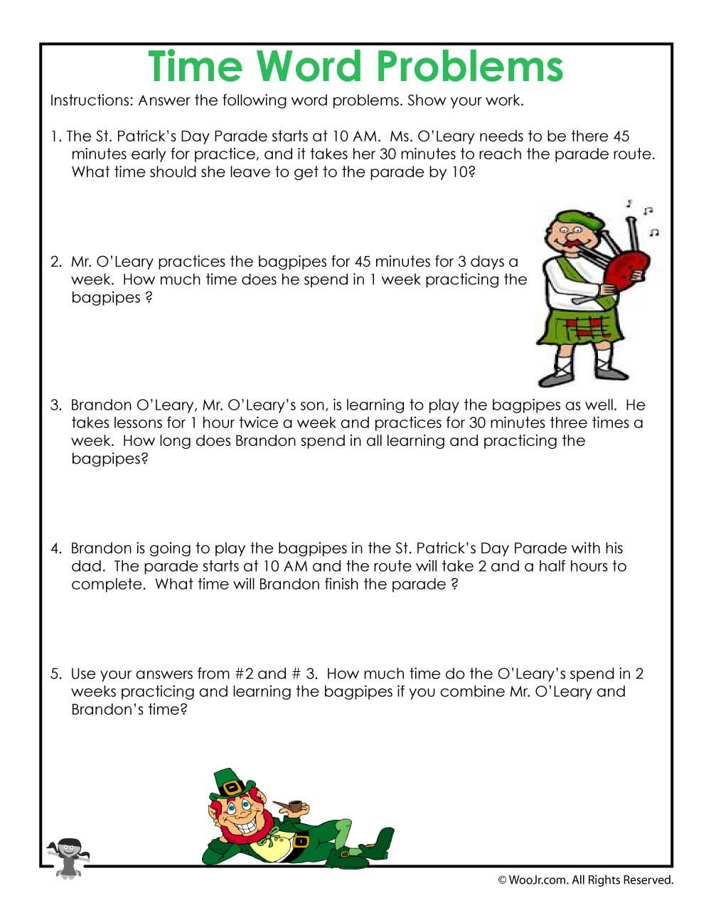 St. Patrick's Math Word Problem Worksheet   Woo! Jr. Kids Activities   Word  problems [ 1294 x 1000 Pixel ]
