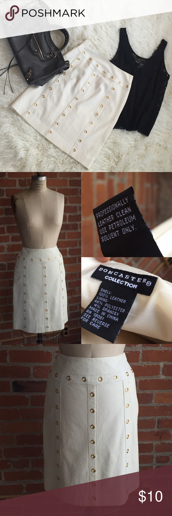 White Leather Doncaster Skirt 10 White leather