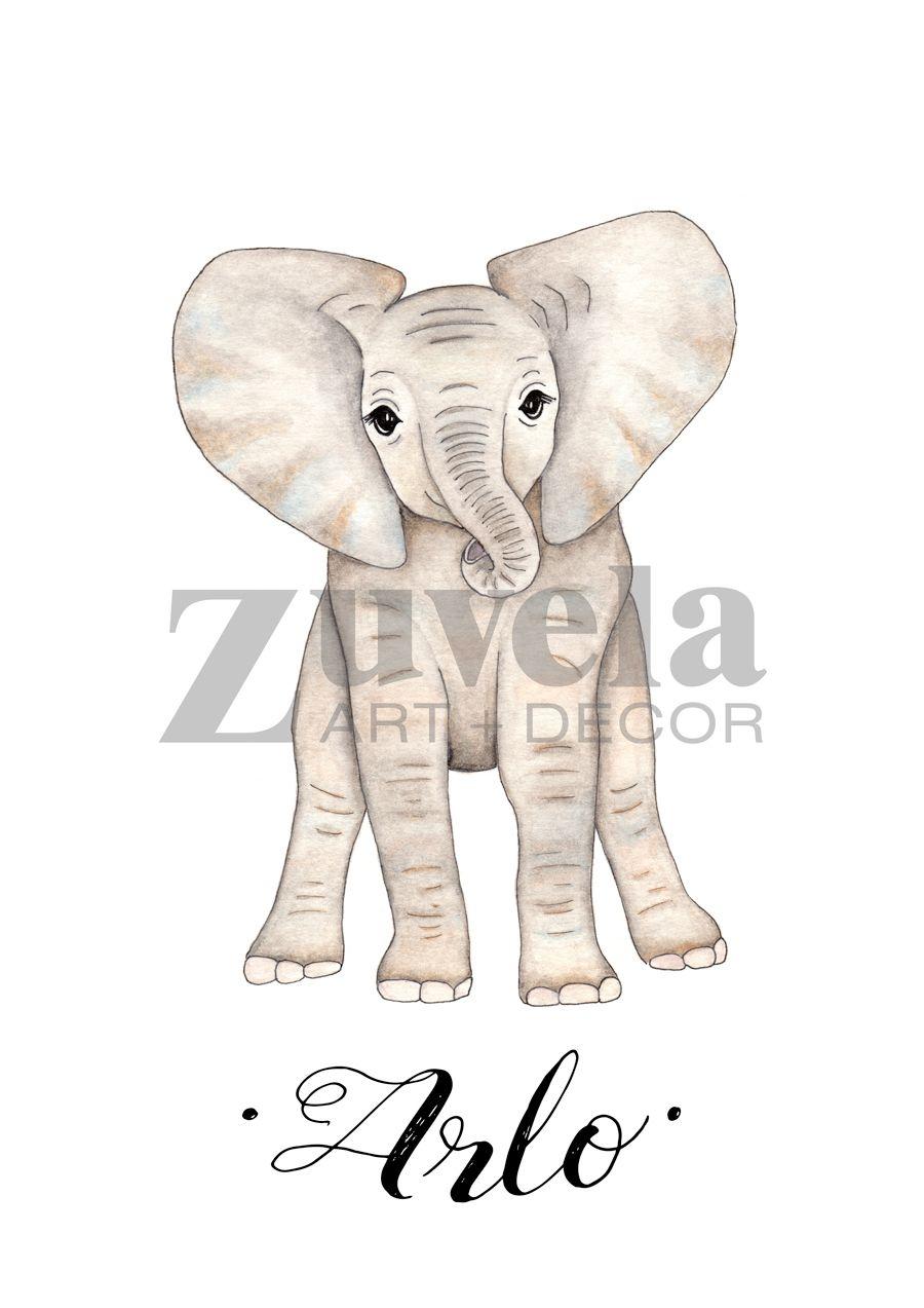Personalised nursery art, nursery prints, Elephant prints, personalised Baby elephant prints