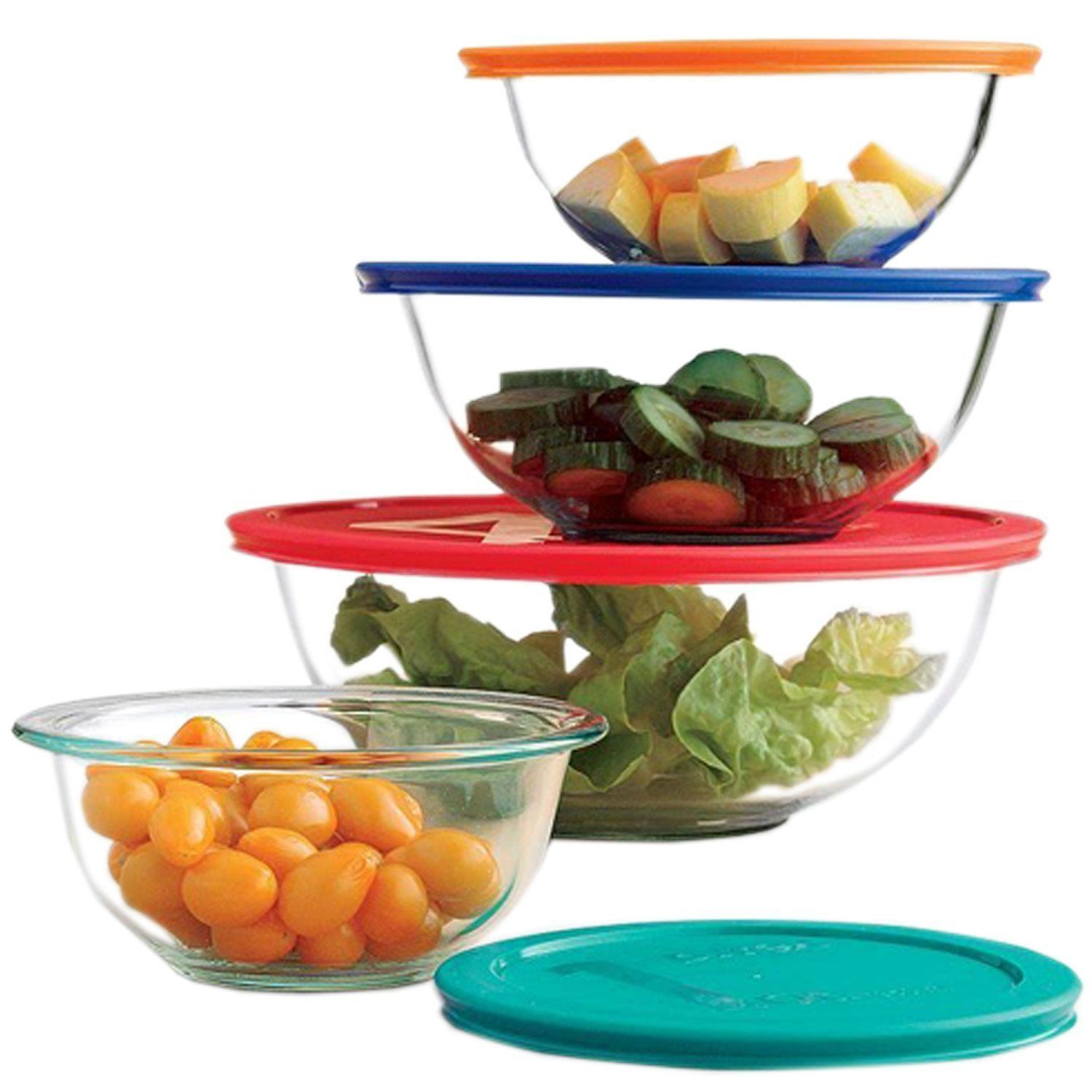 Paksh Pyrex Clear Glass Mixing Bowls With Lids Glass Food