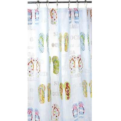 Flip Flop Theme Polyester Fabric Shower Curtain Fabric Shower