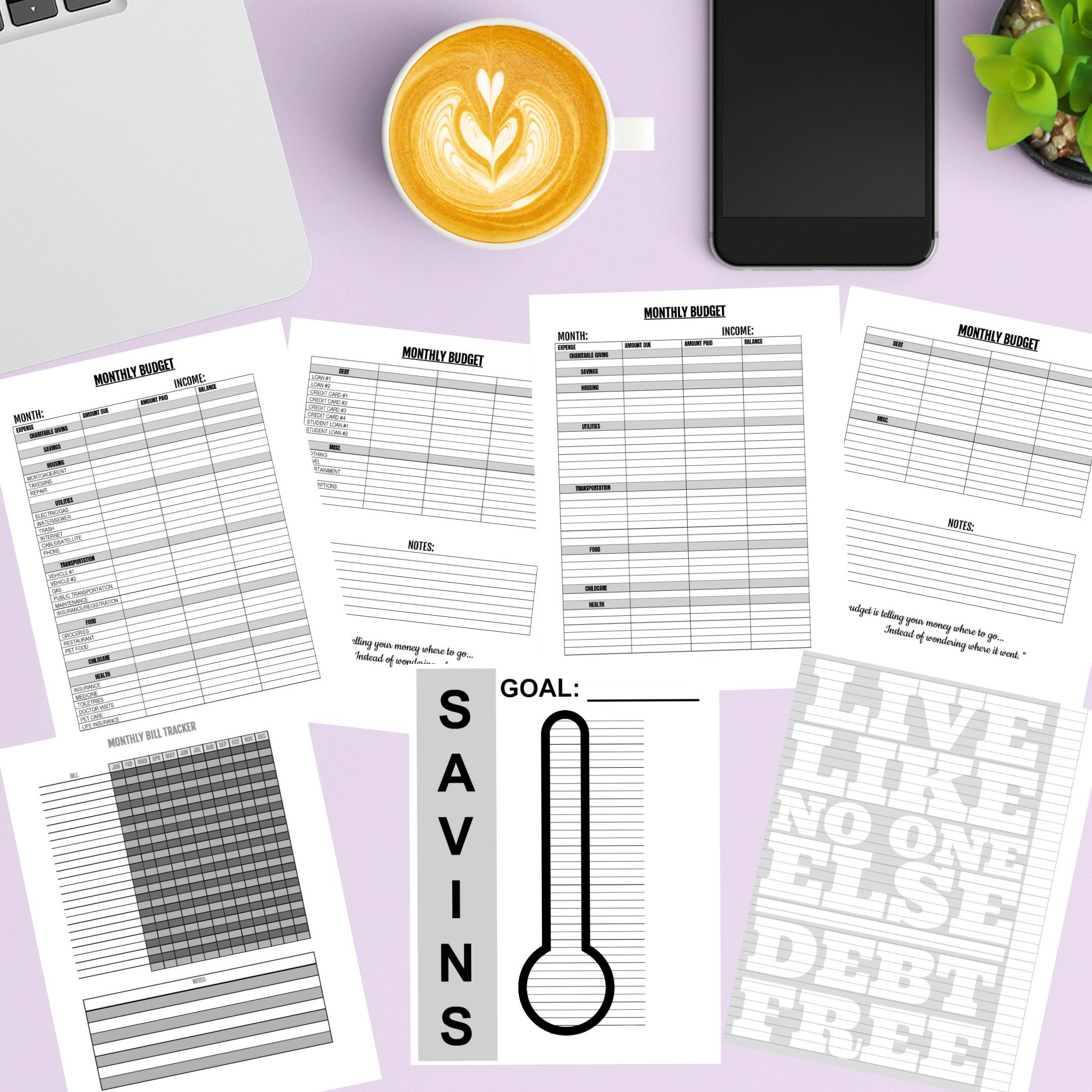 Budget Printables Pack 1 Grey And Black