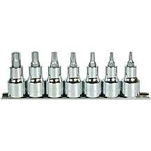 image of Halfords Advanced 7 Piece Torx Bit Socket Rail 1/2