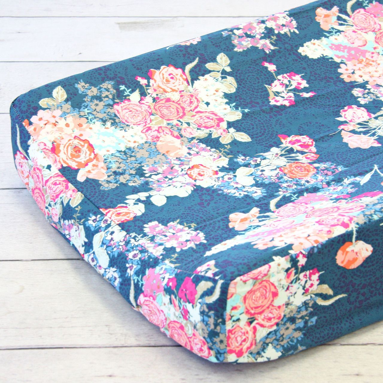 Changing pad covercharlieus coral u navy floral navy floral and