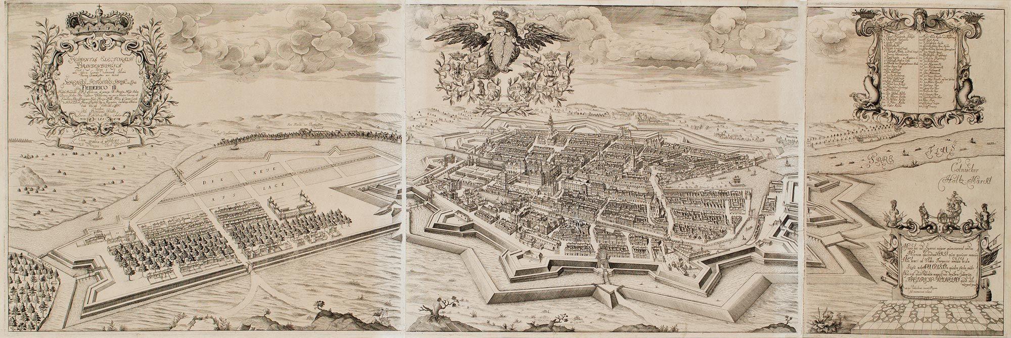 Panorama von Berlin, 1688, Kupferstich aus: Johann Bernhard
