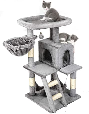 Amazonsmile Rabbitgoo Cat Tree Cat Tower 39 Inch Multi Level Kitten Stand House Condo With Scratching Posts Hammock Large P Cat Tower Cat Tree Large Cats