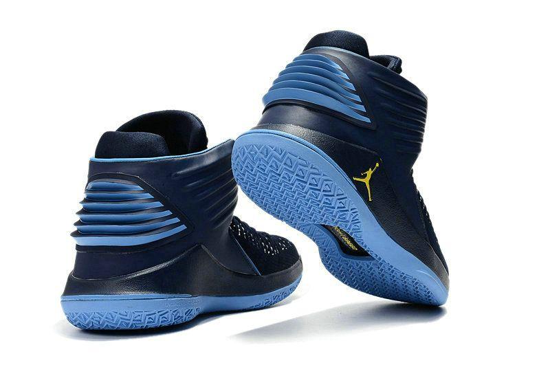 2018 March Sale Cheap 2018 Air Jordan 32 Marquette Flyknit Navy Blue  University Blue-Yellow