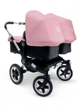 Bugaboo Donkey Twin Aluminium Chassis Black Soft Pink Zwillingskinderwagen Kinderwagen Zwillinge Kinder Wagen