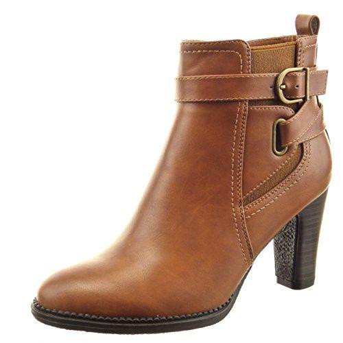 Sopily - Scarpe da Moda formatori zeppa Alti alla caviglia donna trapuntata Catena metallico Zip Tacco zeppa 8 CM - Wx6pFqeR