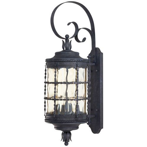 Minka lavery mallorca large outdoor wall mounted lantern outdoor the great outdoors by minka mallorca 4 light wall mount in spanish iron finish wchampagne hammered glass aloadofball Images
