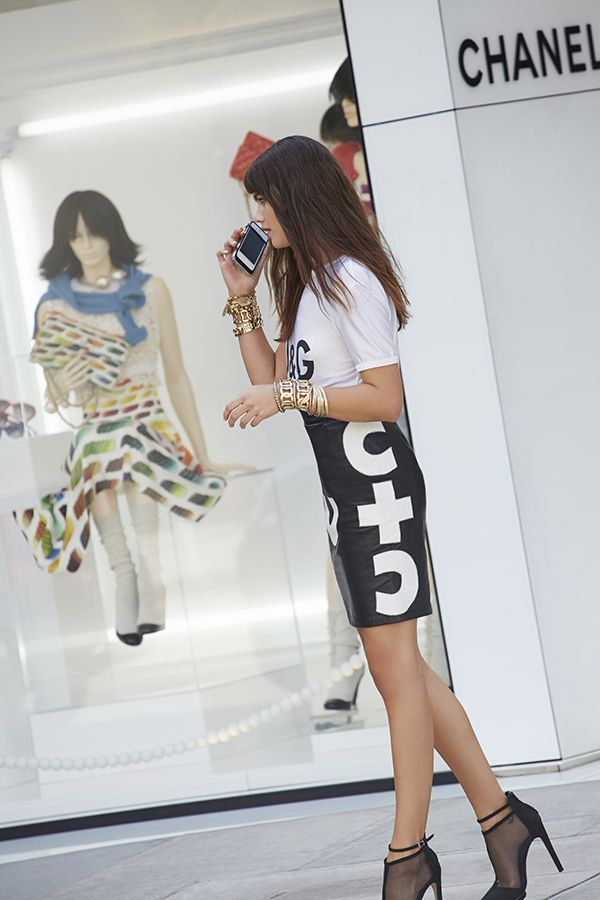 Dolce & Gabanna Classic Tee & Moschino Name Game Leather Skirt #nastygalvintage