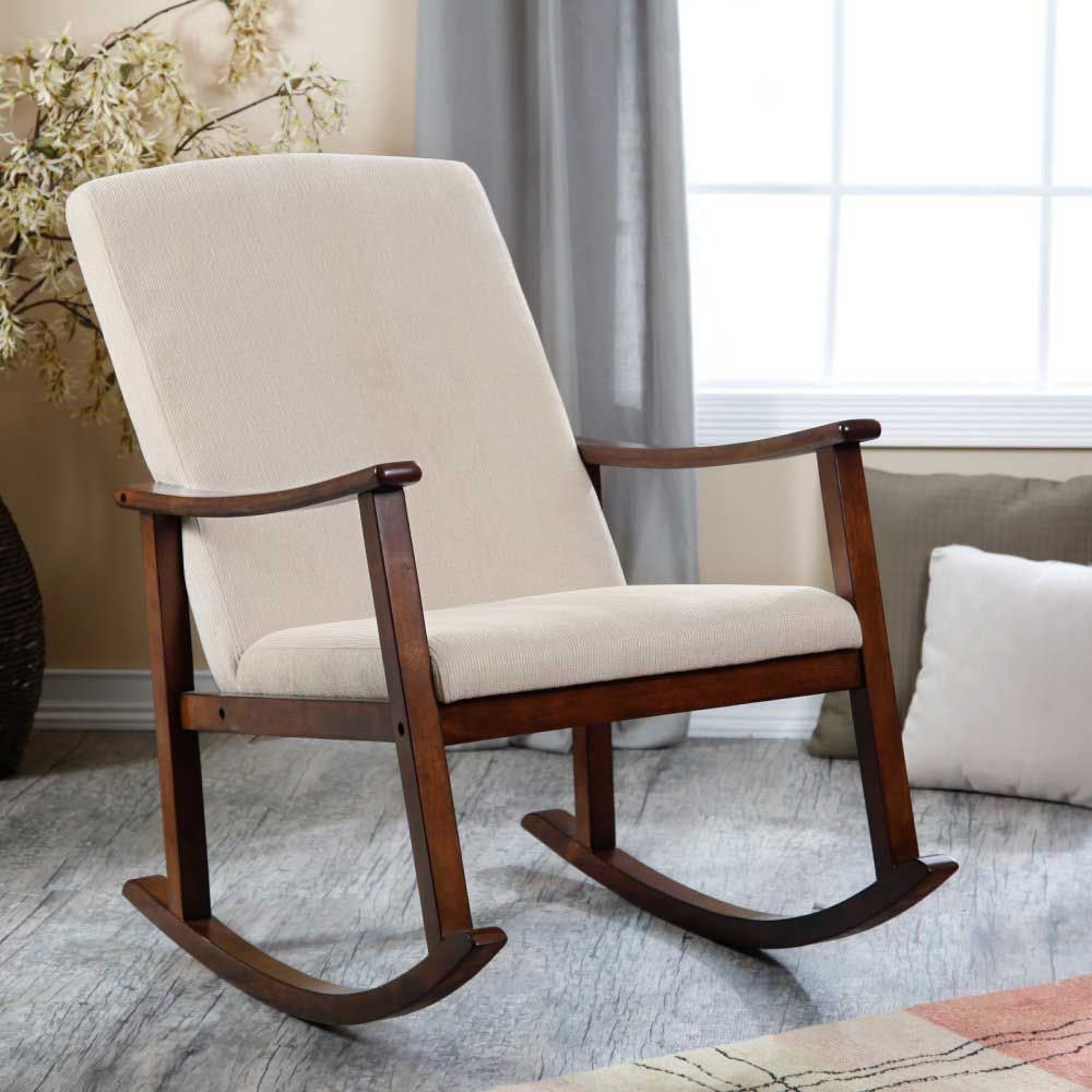 Modern Design Wooden Rocking Chair With Thick Seat And Back Cushions Consumer Reviews Modern Rocking Chair Rocking Chair Nursery Upholstered Rocking Chairs