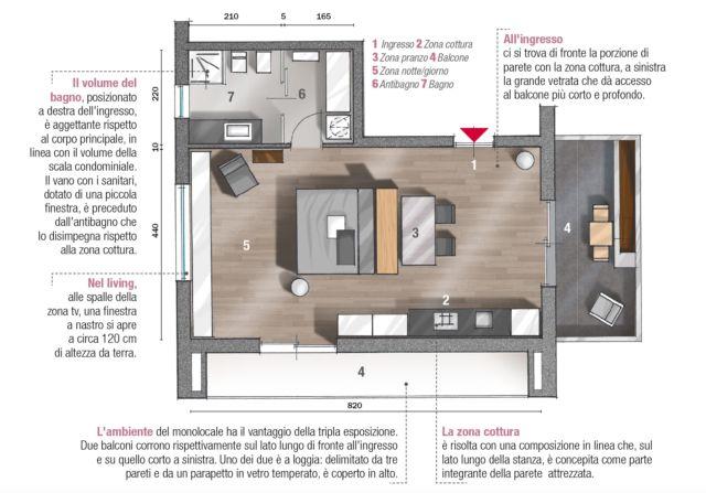 Monolocale Di 45 Mq Un Mini Appartamento Arredato Su Misura Cose Di Casa Planimetrie Dell Appartamento Monolocale Appartamento